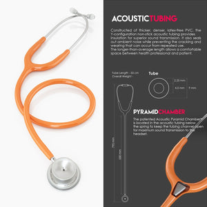 MDF® MD One® Stainless Steel Dual Head Stethoscope (MDF777) - 橘色