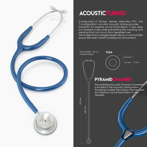 MDF® MD One® Stainless Steel Dual Head Stethoscope (MDF777) - 皇家蓝