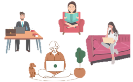 Icon with people casually working on sofa, bed, low sitting
