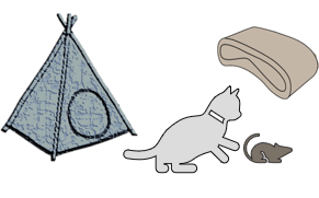 Cat playing with toy mouse, with teepee tent and scratcher behind them