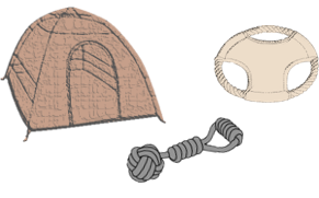 Outdoor teepee tent, tug rope toy, flying disc toy  and scratcher behind them