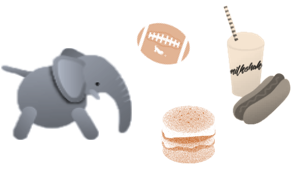 Few dog plush toys: elephant, burger, milk shake, rugby ball and plush bone
