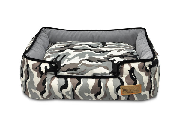 P.L.A.Y. Camouflage white Camo Gothic black lounge bed front top view on white background; SKU PY3003AXLF