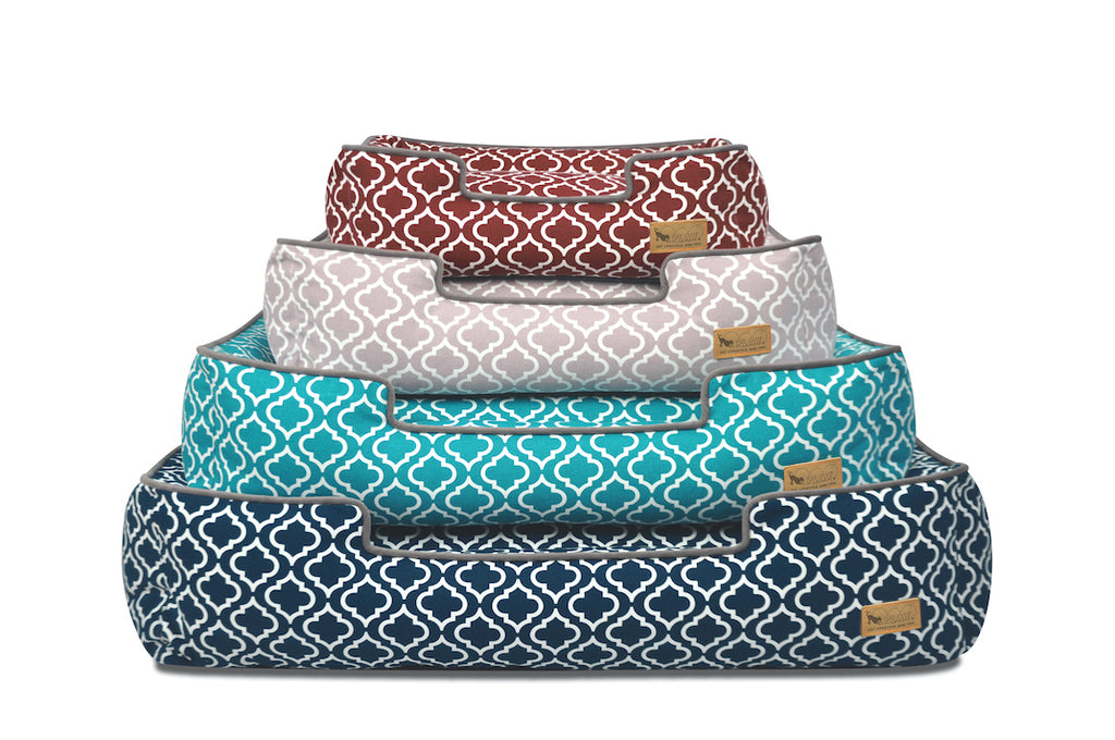 P.L.A.Y. Lounge Dog Bed, model Moroccan, presented in 4 mix colors: red - brown, green - blue,  navy blue, ash grey with hint of red