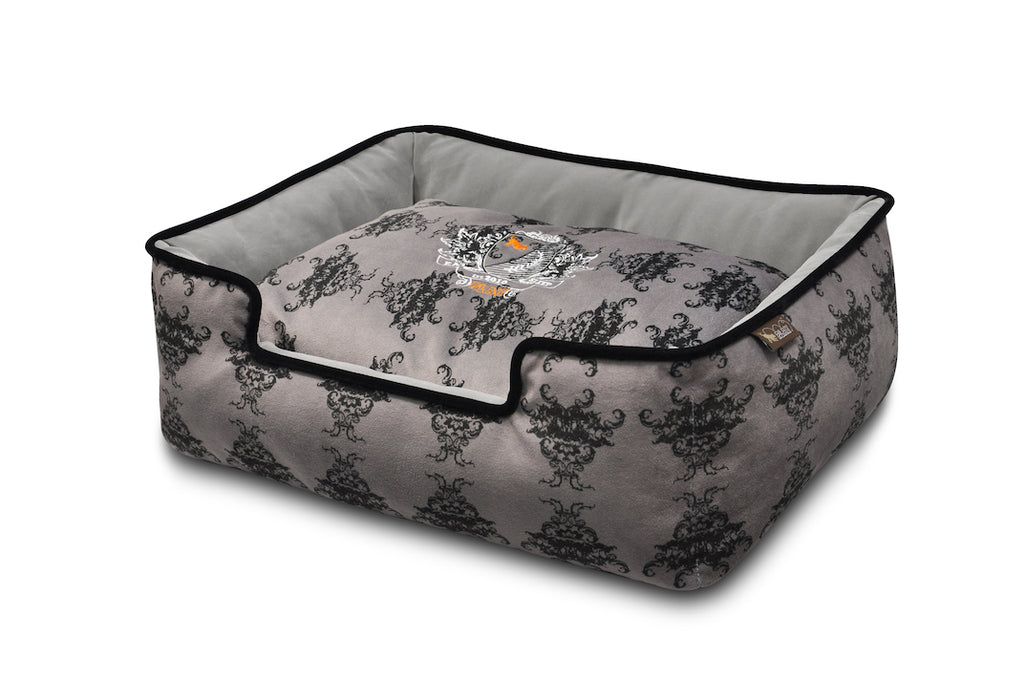 P.L.A.Y. Royal Crest Ivory Black bed, large size, Cool Gray lounge dog bed front view, on white background. SKU: PY3005ALF