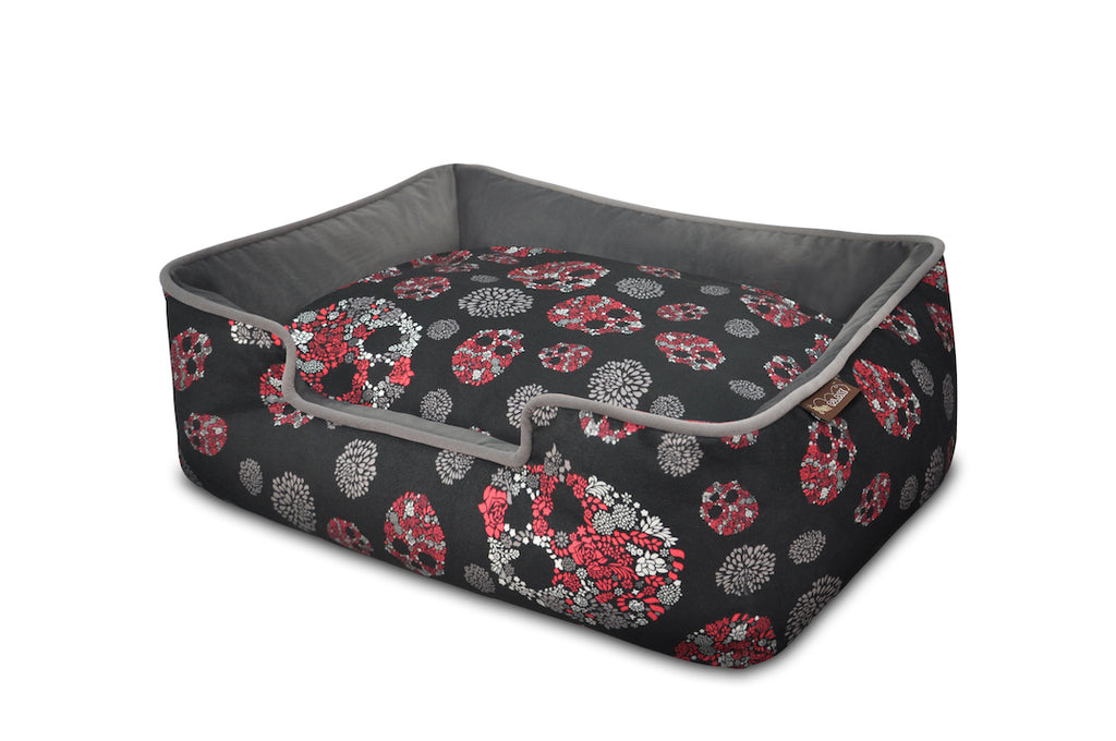 P.L.A.Y. Skulls and Roses Gunmetal Gray lounge dog bed angle top view, on white background