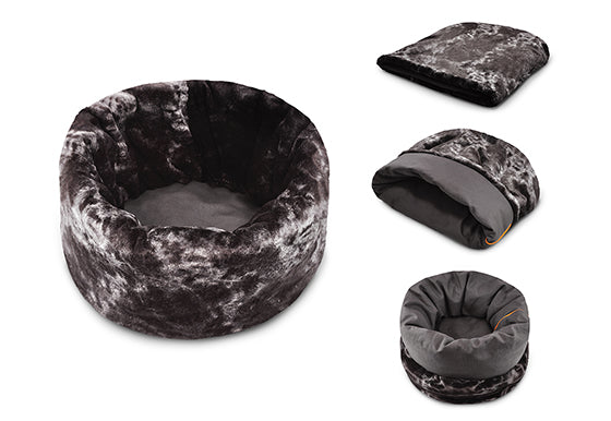 P.L.A.Y. Snuggle Bed, four shapes / ways to be used: flat, cup, cave and pod, Charcoal Gray color