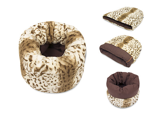 P.L.A.Y. Snuggle Bed, four shapes / ways to be used: flat, cup, cave and pod, Leopard Brown color
