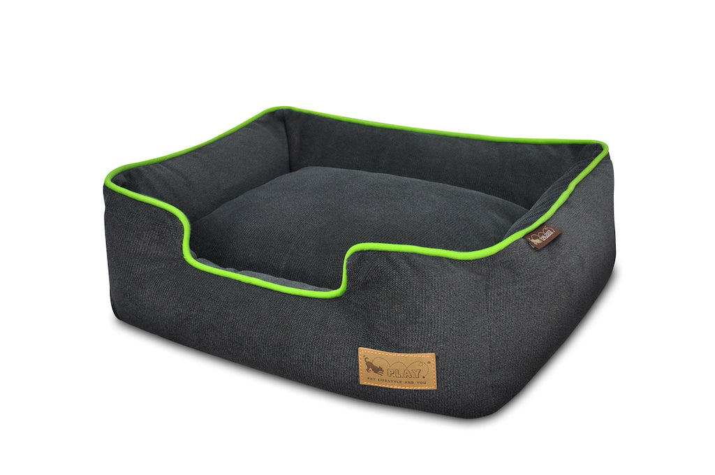 P.L.A.Y. Urban Plush Slate Gray, Lime lounge bed for dogs, top angle view, on white background