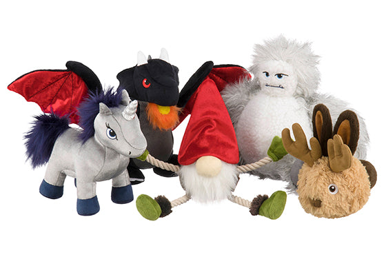 P.L.A.Y. Willow's Mythical Plush Toy for dogs, 5 pcs set, on white background. SKU: PY7074AUF