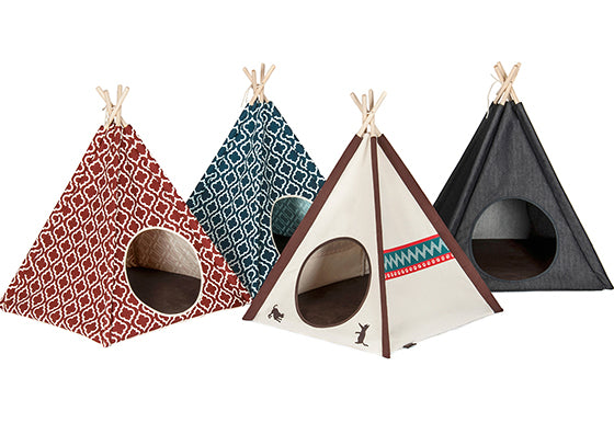 Pet Teepee Tent for dogs and cats, 4 different fabric pattern together, with white background