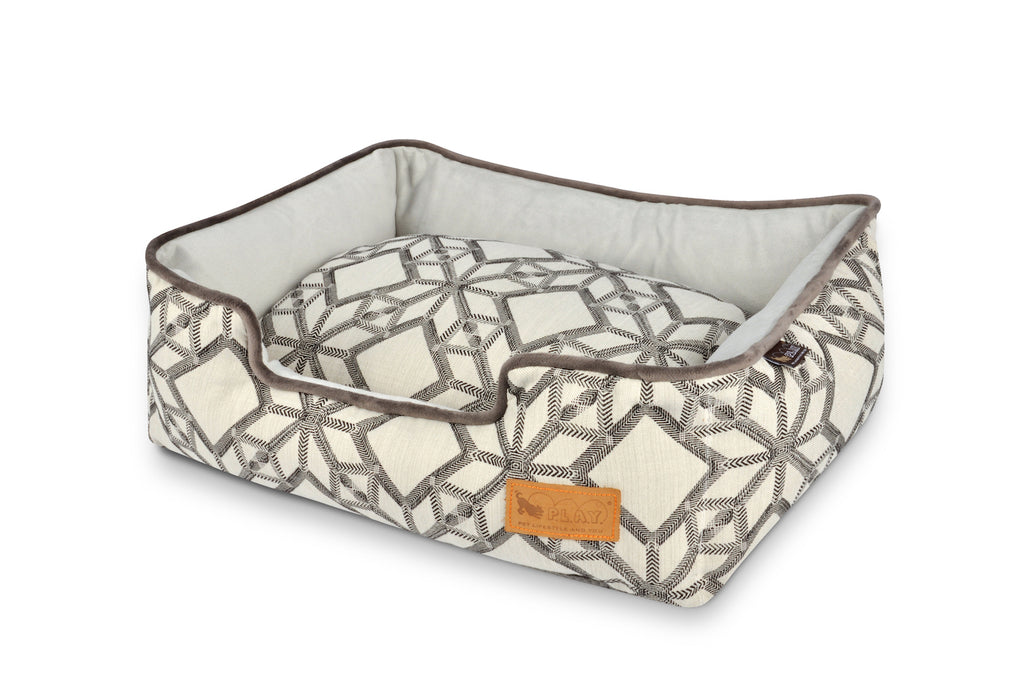 P.L.A.Y. Lounge Pet Bed, Solstice model, Snowy color pattern, beige and brown, top angle view, on white background, sku: PY3014xxx