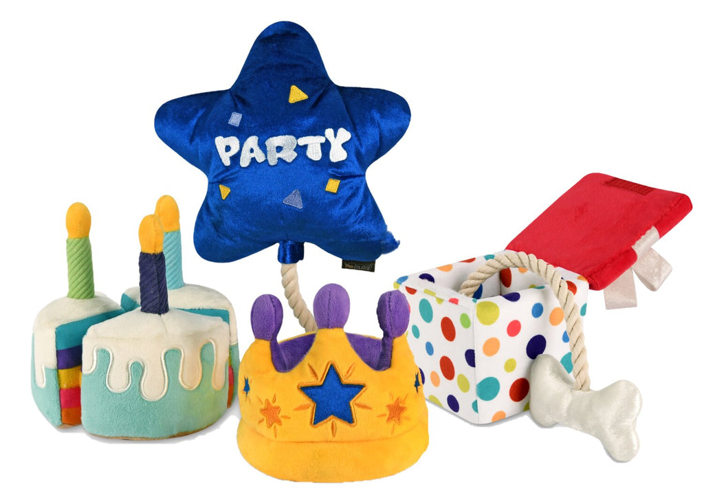 party time plush toys for dogs, set of 4