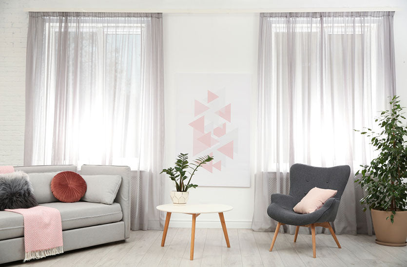 Modern furniture and window curtains