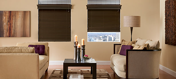 Blinds and wood shades