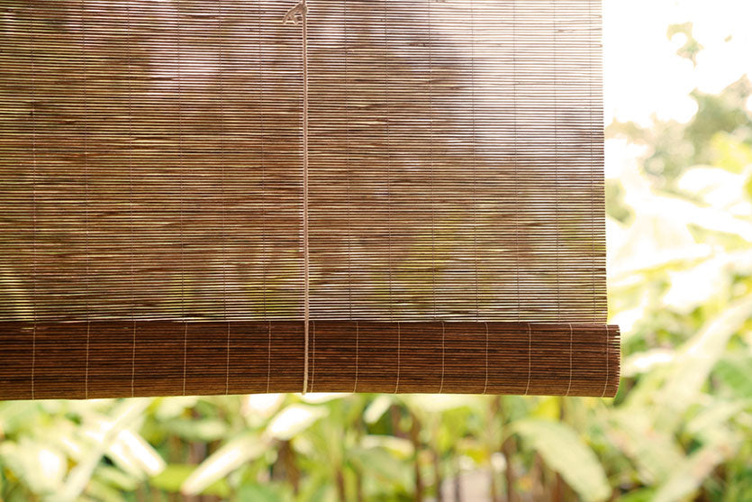 bamboo blinds in window