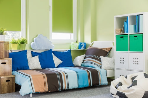 bedroom decorated with bright colors