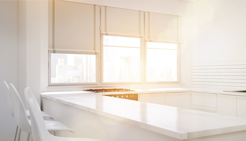 corner of kitchen with large window blinds
