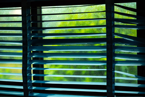 dilapidated window blinds