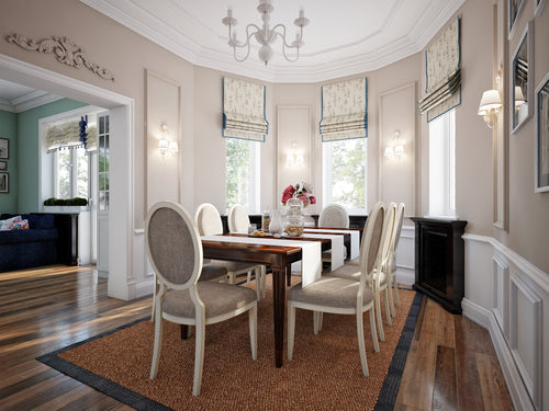 dining room with roman curtains