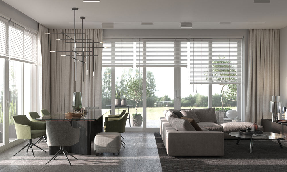home with large panel blinds
