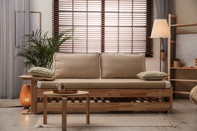 living room interior with wooden blinds