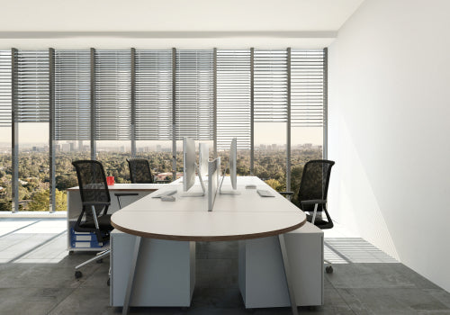 modern office with large windows