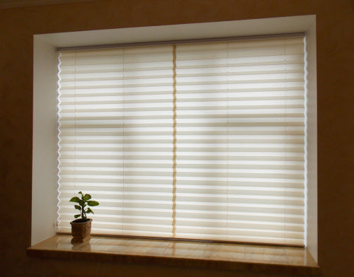 pleated beige blinds