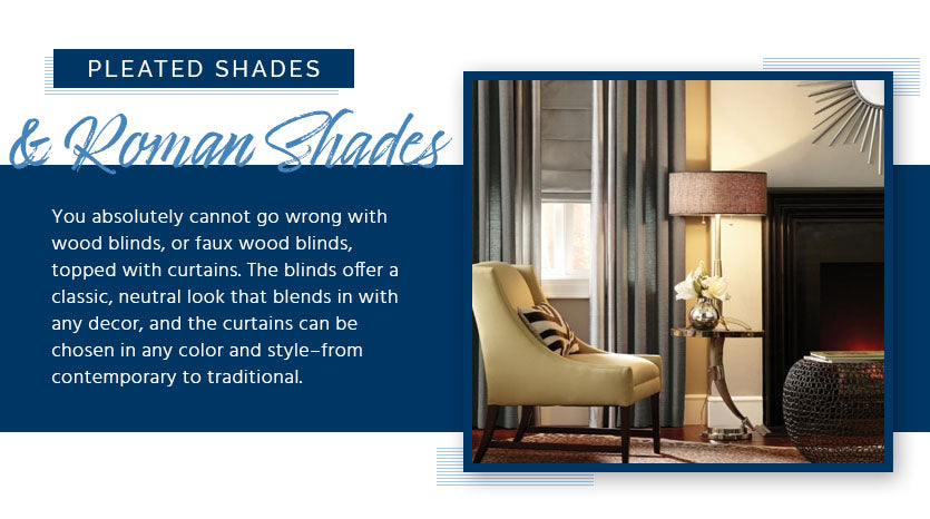 pleated shades and roman shades graphic