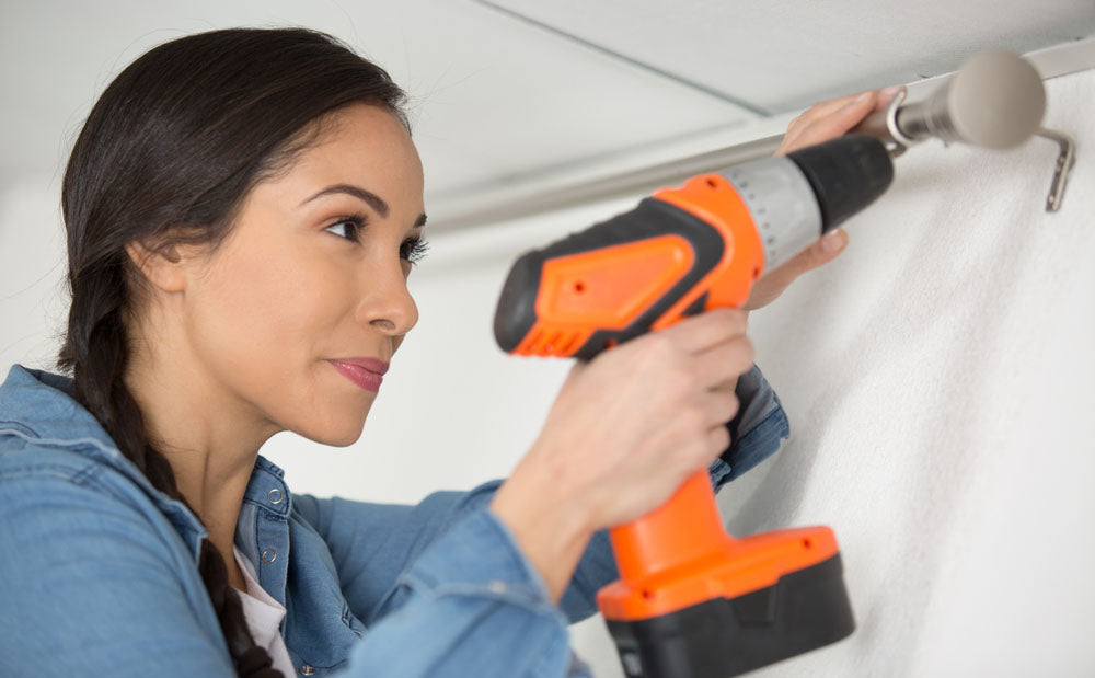 using drill installing blinds