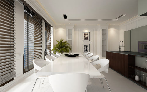 Custom blinds in luxury dining area