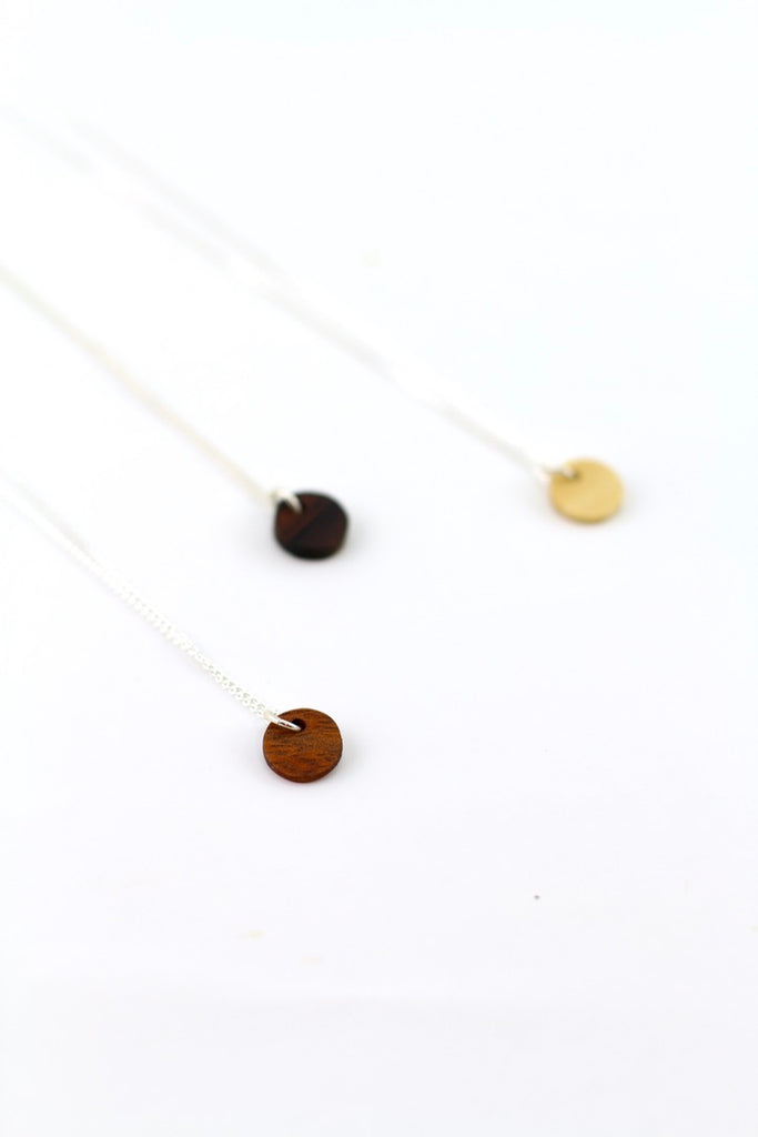 Tiny stacking wood charm necklace