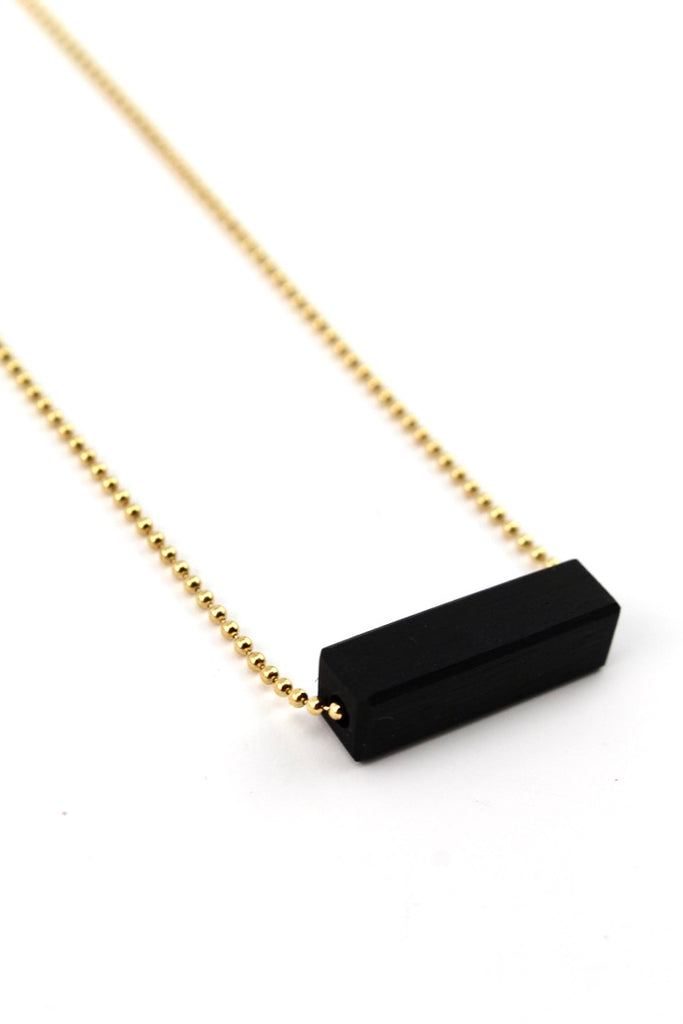 Ebony wood bar necklace