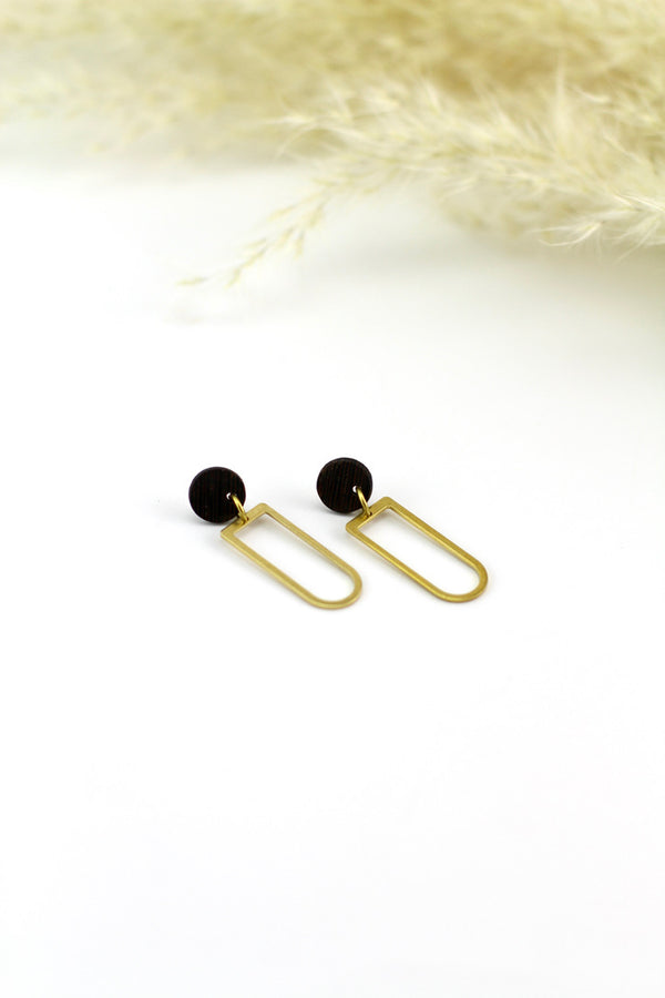 Geometric brass stud earrings