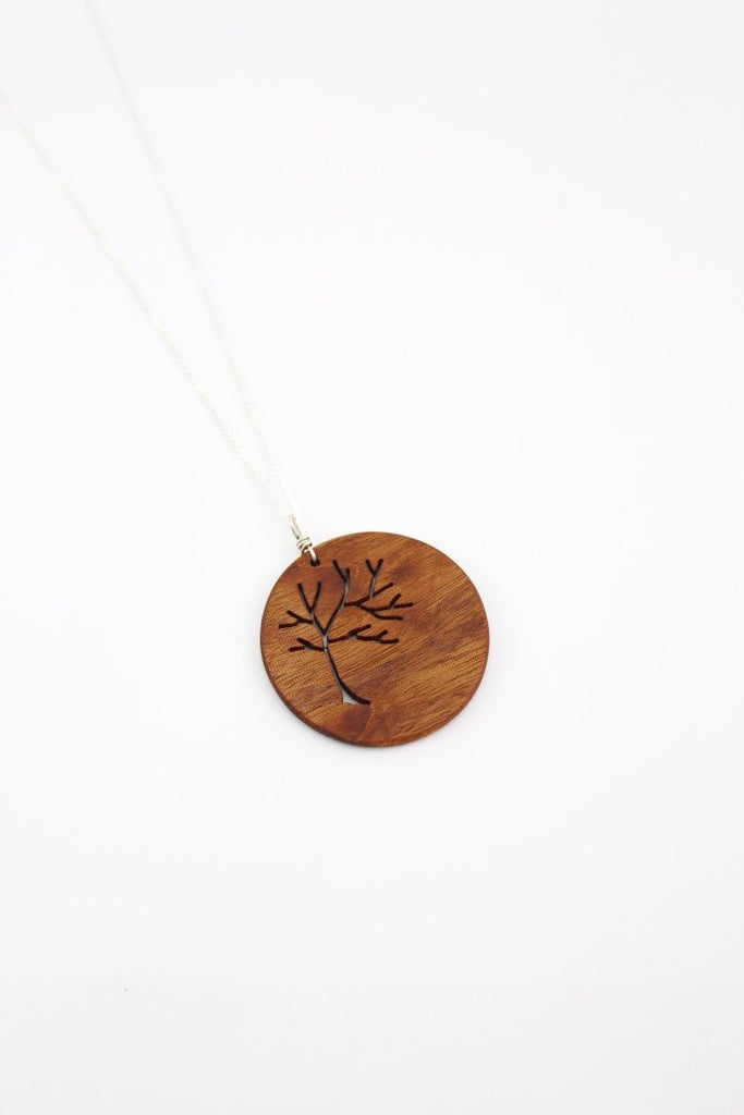Round wood tree of life necklace
