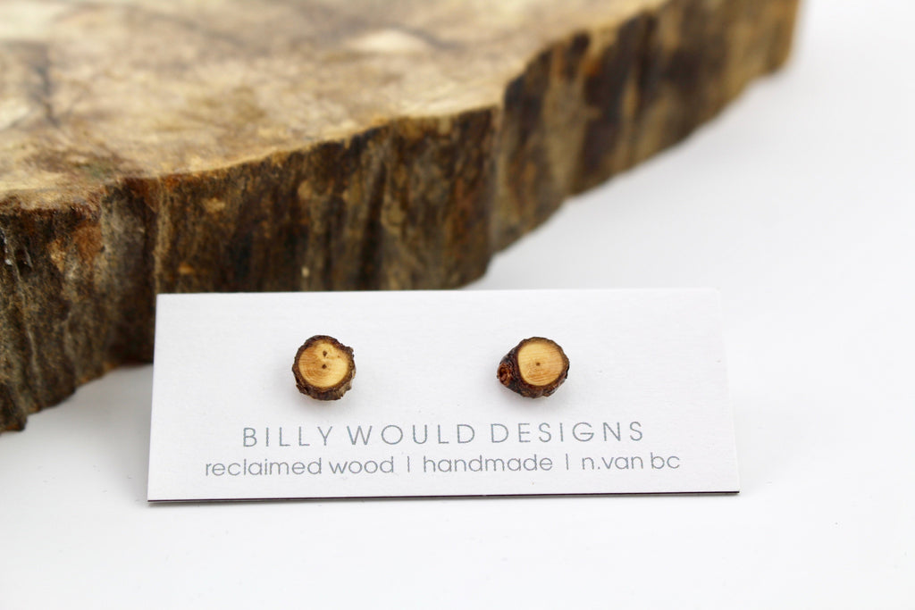 Tiny wooden round earrings