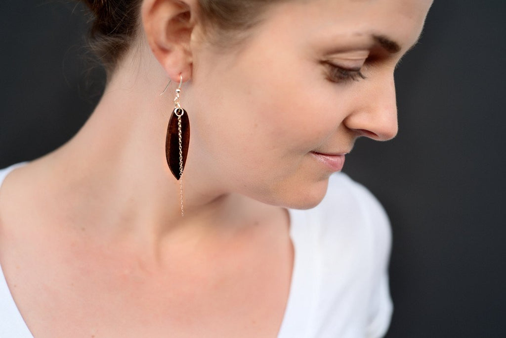 Wood dangle earrings