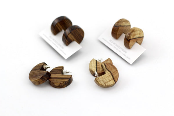 PAC-MAN handmade wood earrings