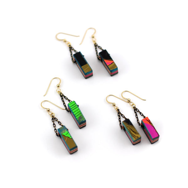 Dangle skateboard earrings