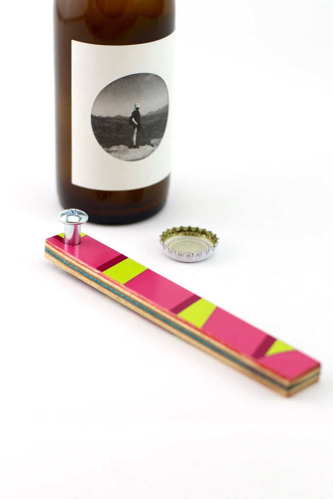 recycled skateboard beer bottle opener