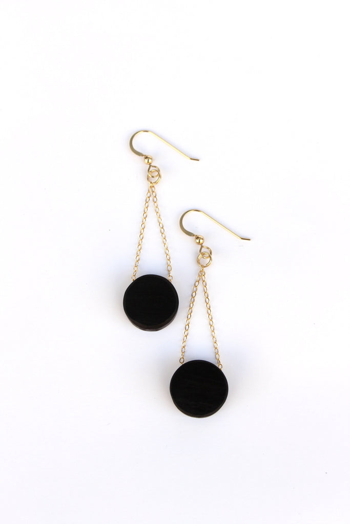 Ebony and gold earrings