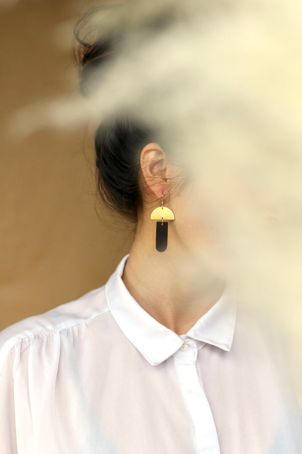 Brass and wood statement geometric earrings