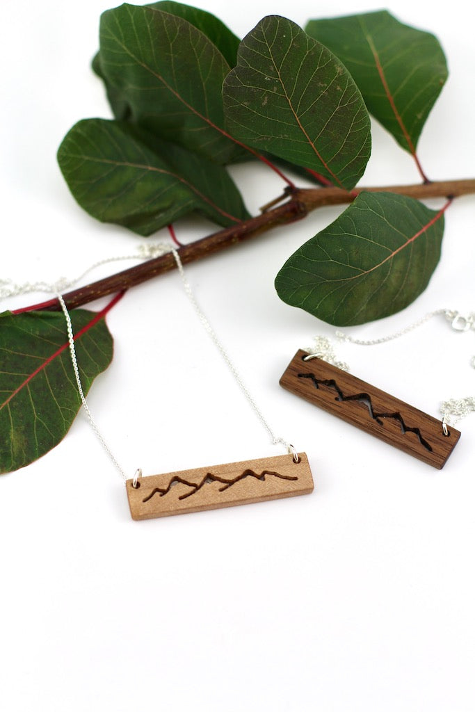 Wood mountain range necklace