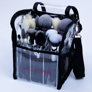 CLEAR BRUSH ORGANISER BAG WITH STRAPS