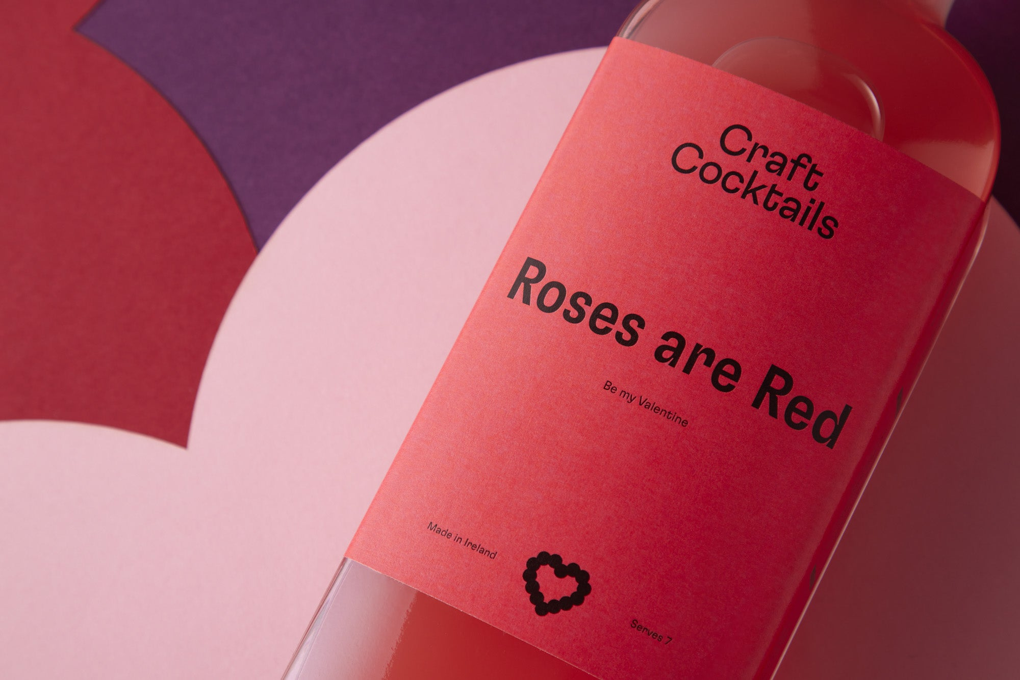 Personalised cocktails from craftcocktails.ie. Custom label with valentines message roses are red