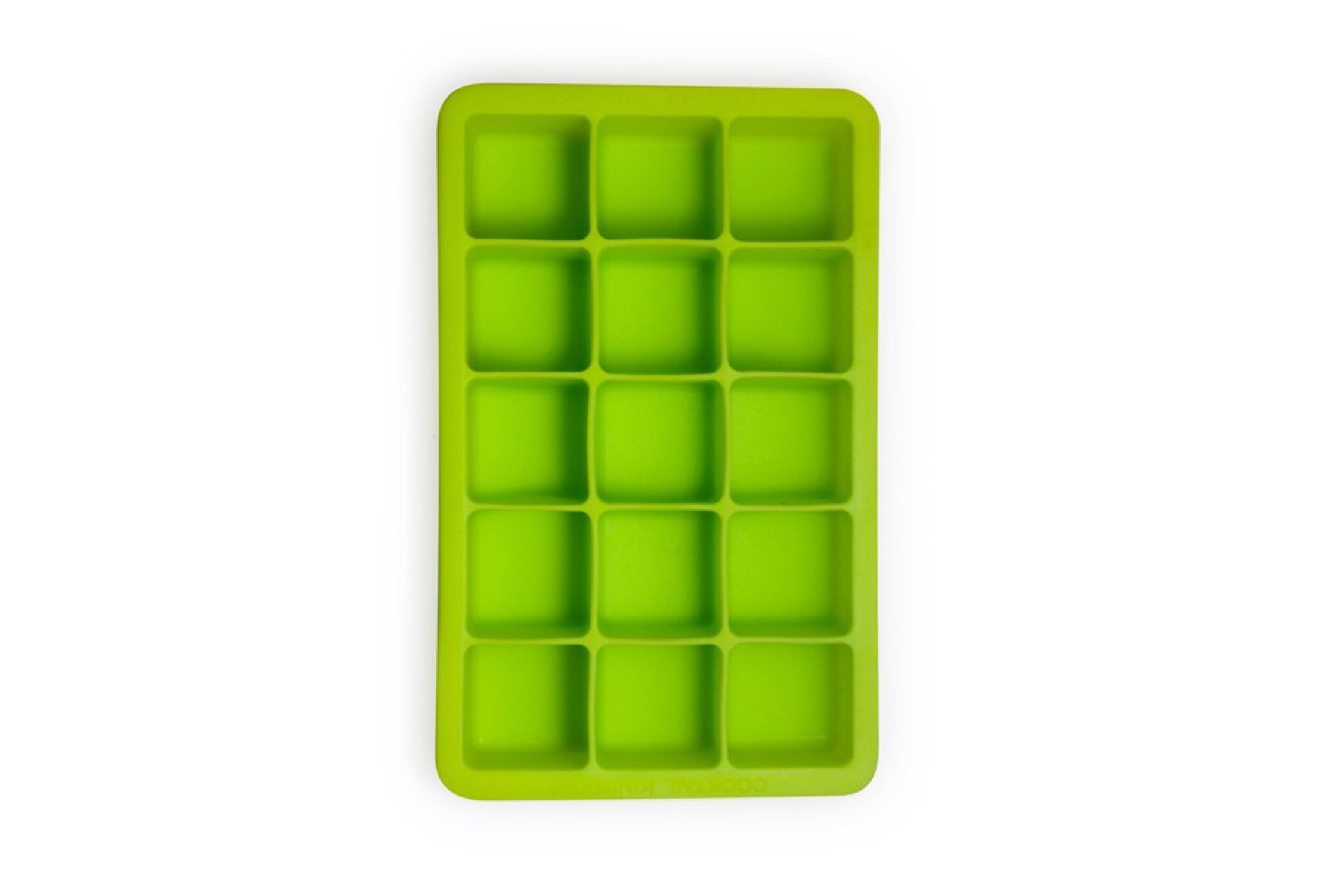 Green ice cube tray, rubber mold, ice cube design, cocktail quality premium, bartender ice, square, BPA free, silicon, freeze, best, mixologist, professional bartending equipment,  a full spectrum of professional and custom barware, artisan bitters and syrups, Cocktail Kingdom, discerning bartender.