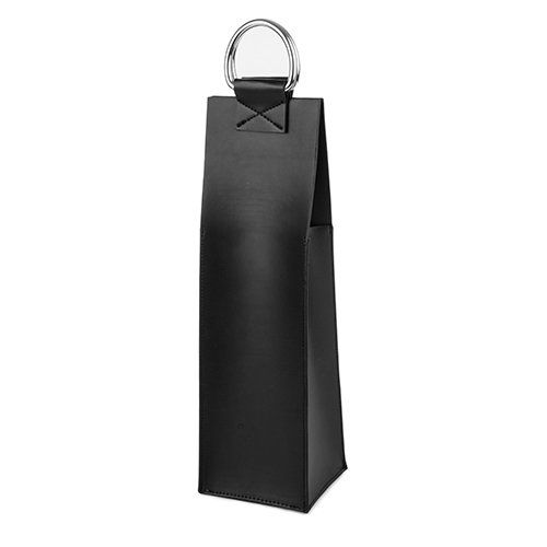 Black Faux Leather Single-Bottle Wine Tote