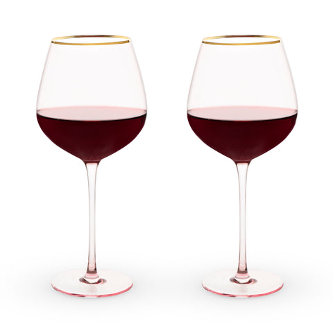 Rose Crystal Red Wine Glass Set