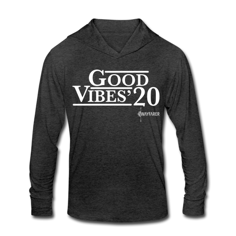 Unisex Good Vibes Tri-Blend Hoodie Shirt - heather black