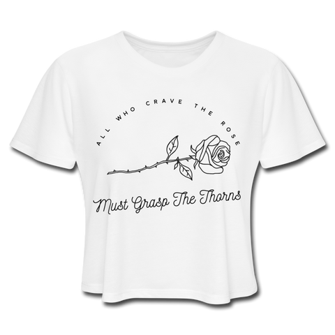 Women's Grasp The Thorn Cropped T-Shirt - white